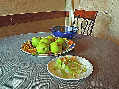 Still Life with Apples Peels and Chair 3 by Lynda Lehmann