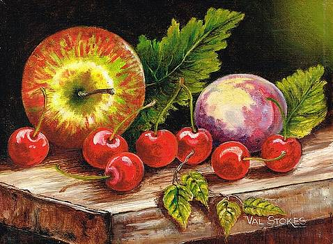 Still life with cherries by Val Stokes