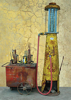 Still life with Gas pump and oil cans by Jeff Burgess