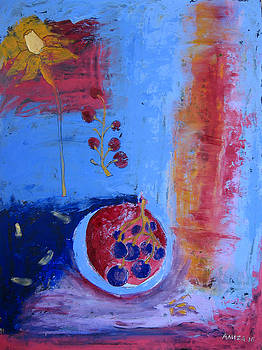 Still life with grapes and a vine spirit by Aliza Souleyeva-Alexander