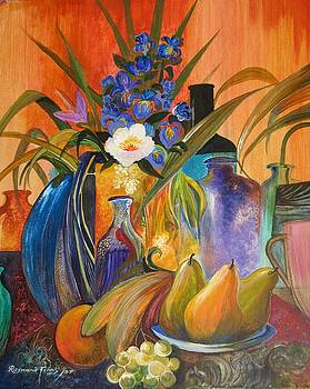 Still life with mauve glass  by Raymond Frans