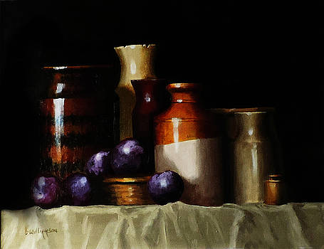 Still life with plums by Barry Williamson