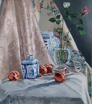 Still life with Two Roses by David Johnson