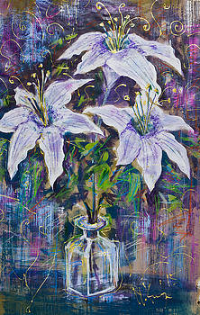 Still life with white lilies by Maxim Komissarchik