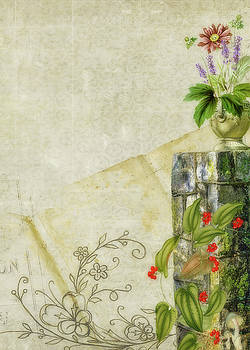 Stone Pillar with Flowers by Larry Bishop
