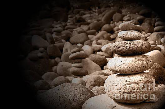 Stones on Kauai beach 5 by Micah May