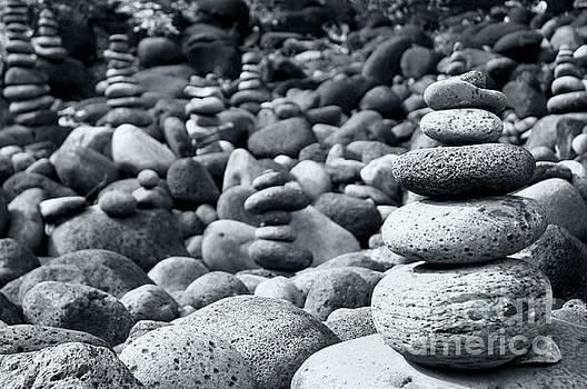 Stones on Kauai beach 6 by Micah May