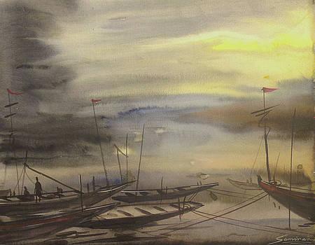 Storm and Fishing Boats by Samiran Sarkar