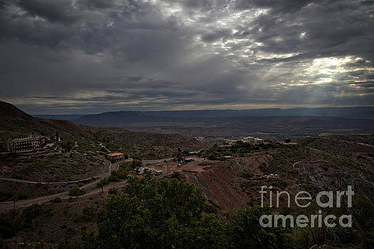 Storm Clouds and Suns Rays Jerome AZ by Ron Chilston