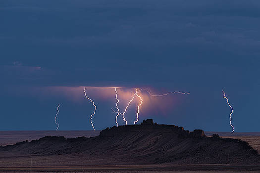 Storm Over Shiprock Dike New Mexico by Steve Gadomski