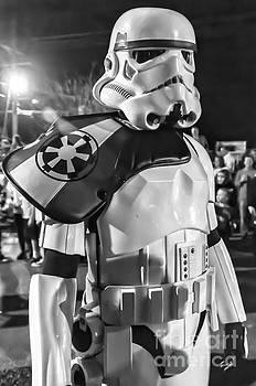 Kathleen K Parker - Storm Trooper BW--at Mardi Gras