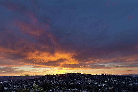 Stormy Fiery Sunset Sky over Happy Valley by Jit Lim