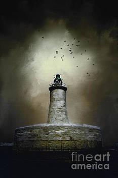 Stormy Lighthouse Valletta Malta by Ann Garrett