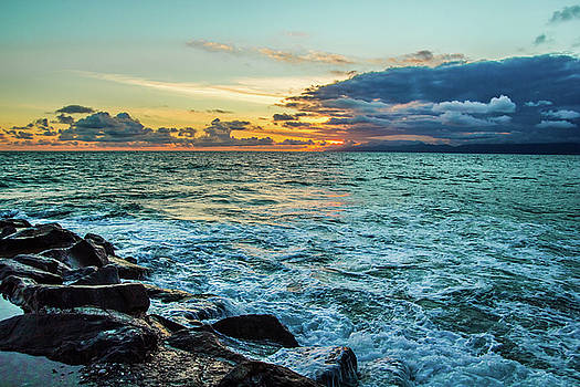 Stormy Ocean Sunset by April Reppucci
