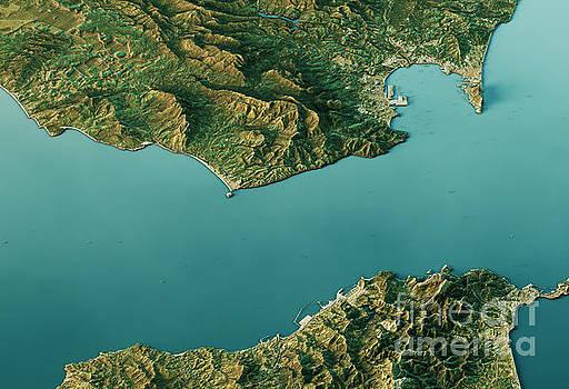 Strait Of Gibraltar 3D Landscape View South-North Natural Color by Frank Ramspott