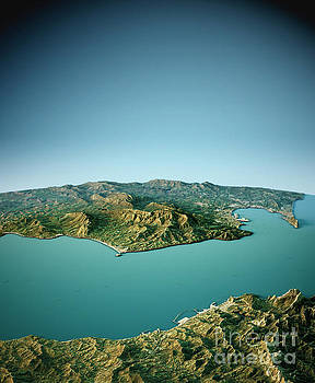 Strait Of Gibraltar 3D View South-North Natural Color by Frank Ramspott