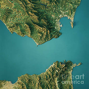 Strait Of Gibraltar Topographic Map Natural Color Top View by Frank Ramspott
