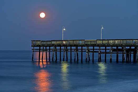 Strawberry Moon Over Sandbridge by Jamie Pattison