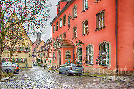 Street view in a dull rainy day Dinkelsbuhl Germany by Jivko Nakev