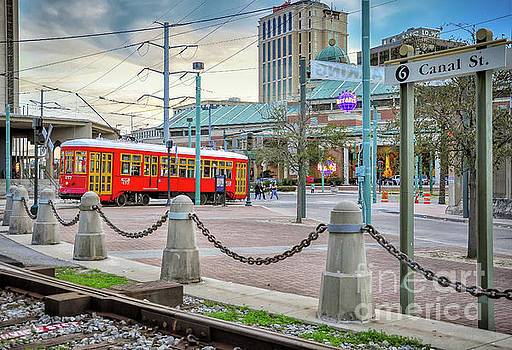 Streetcar on Canal Near River- NOLA by Kathleen K Parker