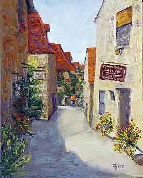 Streets of St.Cirq Lapopie by Linda Riesenberg Fisler