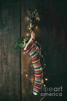 Sandra Cunningham - Striped wool stocking with sparkling lights