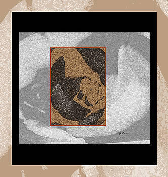 Study of a Rose in Granite Black White Brown Gray by Gretchen Wrede