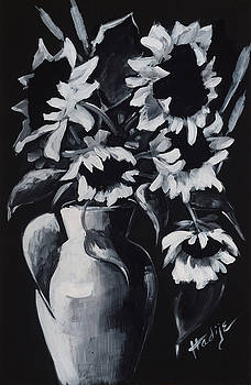 Study Of Black And White Sunflowers by Mary DuCharme