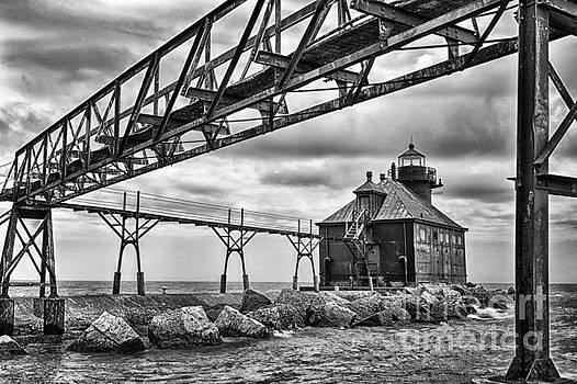 Sturgeon Bay Ship Canal North Pierhead Lighthouse in Black and White by Margie Hurwich