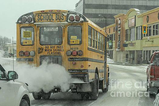 Sudbury, Ontario, Canada February 15th 2014. School bus in traff by Bruce Stanfield