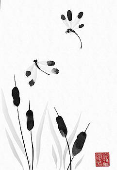 Sumi-e - Dragonfly - One by Lori Grimmett