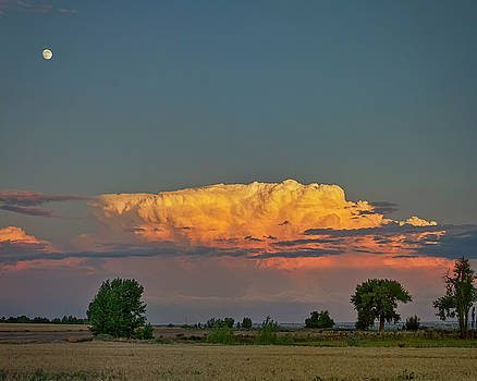 Summer Night Storms Brewing And Moon Above by James BO Insogna