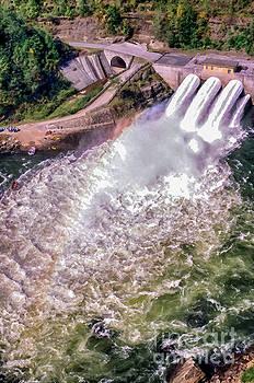 Summersville Dam Tube Release Aerial View by Thomas R Fletcher