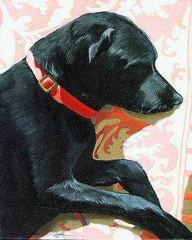 Sun Dog - dog portrait oil painting by Linda Apple
