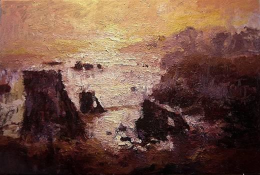 Sunburst on Shell Beach by R W Goetting
