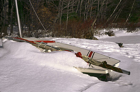 Sunfish Sailboat in Snow by Sally Weigand