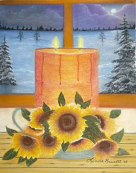 Sunflower Candle by Linda Bennett