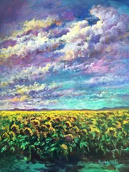 Sunflower Days in Davis California by Randy Burns