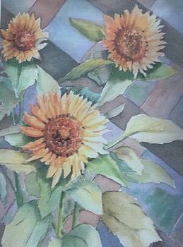 Sunflower on Trellis by Katherine  Berlin