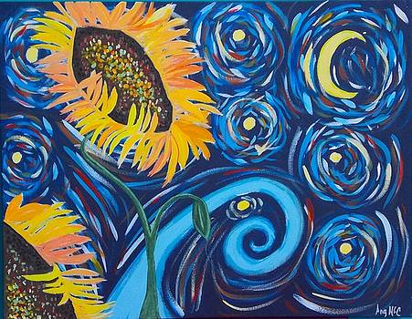 Sunflower Starry Night by Angela McCool