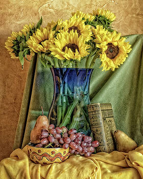 Sunflowers and Blue Vase by Sandra Selle Rodriguez