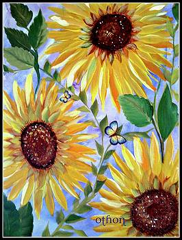 Sunflowers and butterflies by Kathy Othon