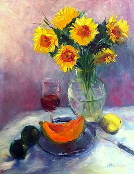 Sunflowers and Cantaloupe by Patricia Lyle