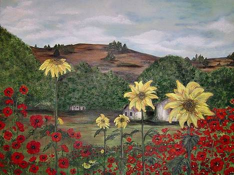 Sunflowers and Poppies by Cindy Watson