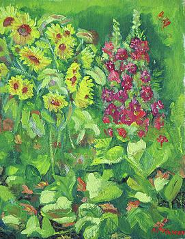 Sunflowers Hollyhocks and Pumpkin Blossoms by Robert P Hedden