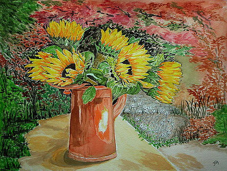Sunflowers In Copper by Yvonne Johnstone
