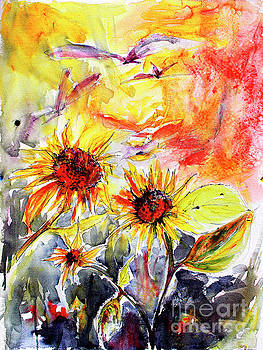 Ginette Callaway - Sunflowers in Summer Garden Modern Watercolor and Ink