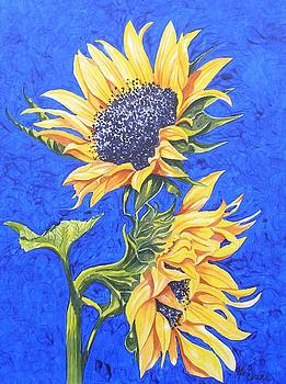 Sunflowers on Blue by Frances Evans