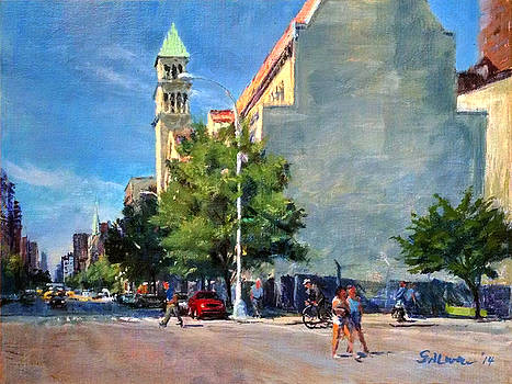 Summer Morning near St. Michael's Church, Amsterdam Ave. by Peter Salwen