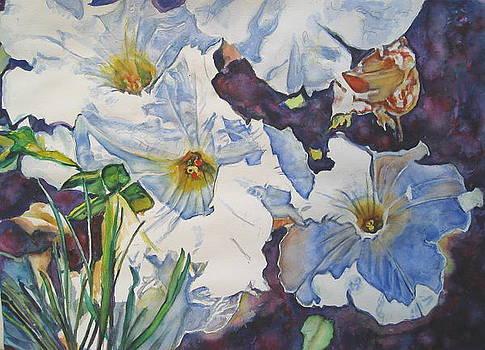 Sunny Summer Petuniias  by June Conte  Pryor